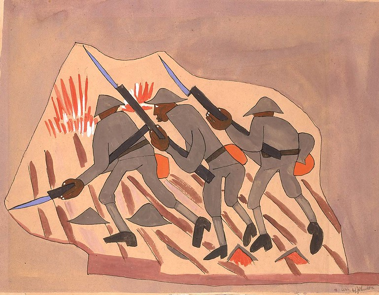 "William H. Johson, ""War Scene: Three Soldiers"" (ca 1942)"