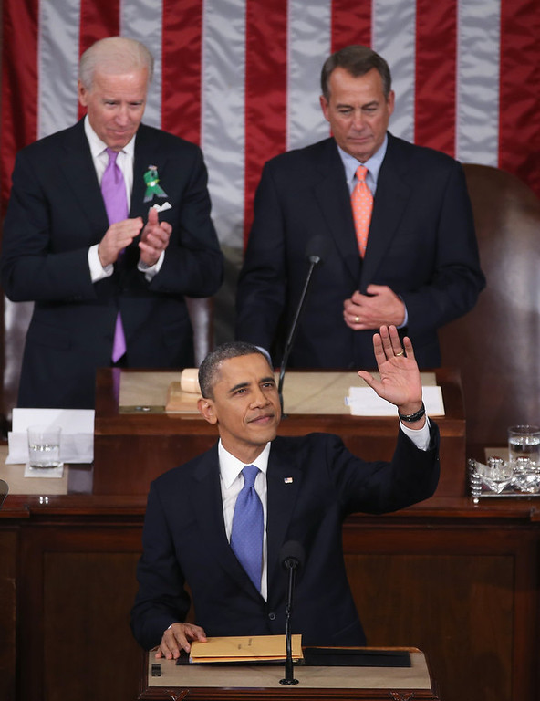 ". U.S. President Barack Obama delivers his State of the Union speech before a joint session of Congress at the U.S. Capitol February 12, 2013 in Washington, DC. Facing a divided Congress, Obama is expected to focus his speech on new initiatives designed to stimulate the U.S. economy and said, ""It�s not a bigger government we need, but a smarter government that sets priorities and invests in broad-based growth\"".  (Photo by Mark Wilson/Getty Images)"