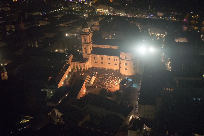from the fortress, looking down at kapitalplatz, where the crowd watched a performance of 'the magic flute'.