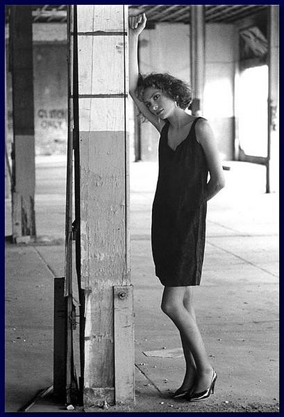Model in abandoned garage, 1986