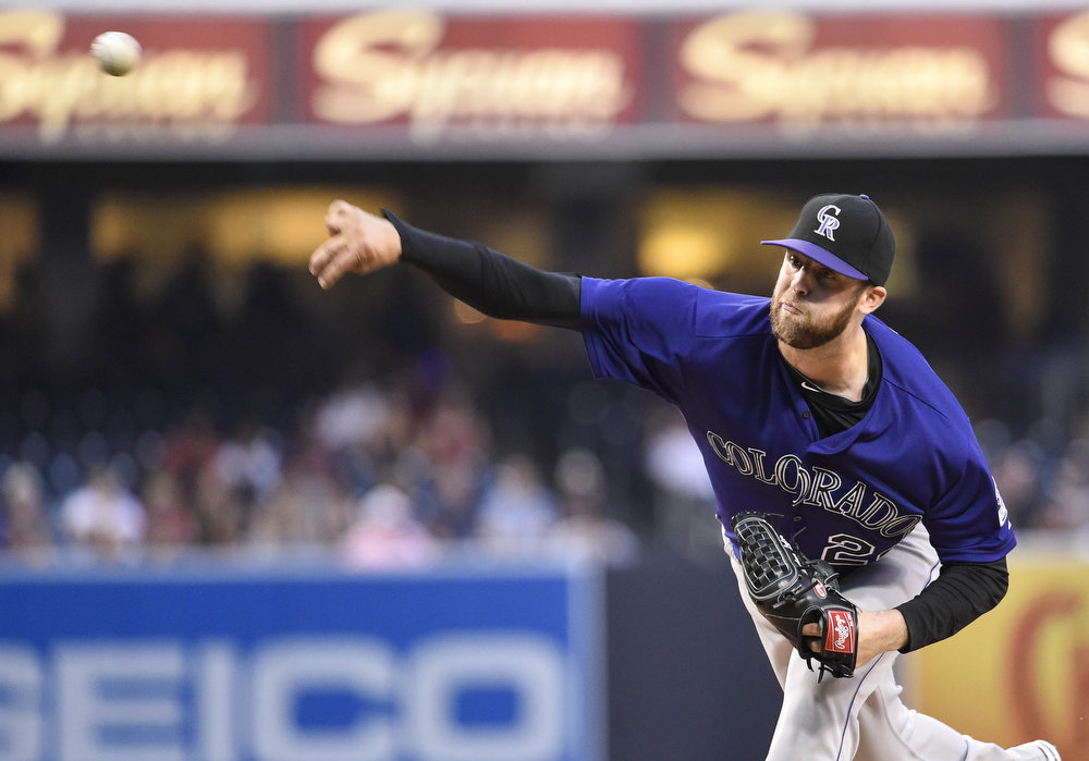 . Jordan Lyles #24 of the Colorado Rockies pitches during the first inning of a baseball game against the San Diego Padres at Petco Park August, 11, 2014 in San Diego, California.  (Photo by Denis Poroy/Getty Images)