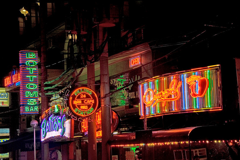 Bright neon lights in Makati at Night -  Philippines