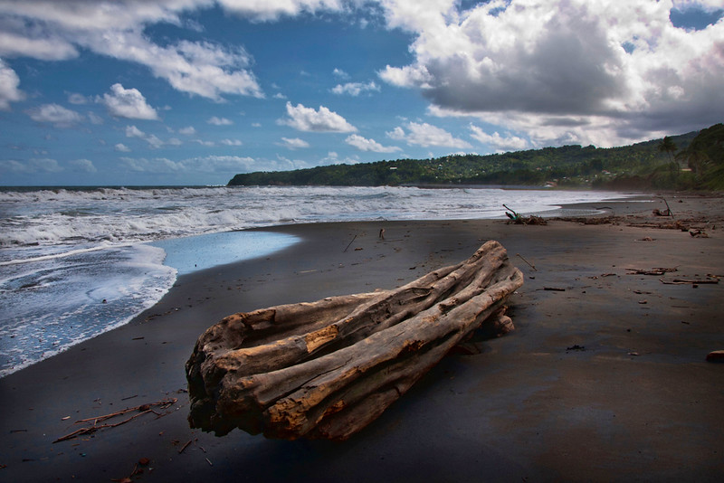 Dominica island, black sand beach