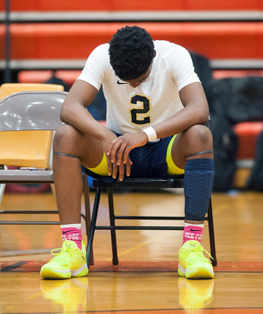 06/07/18 Wesley Bunnell | Staff Newington volleyball defeated Joel Barlow on Thursday night at Shelton High School to claim the Class M State Championship. Louis Egbuna (2) sits in silence between the first and second set.