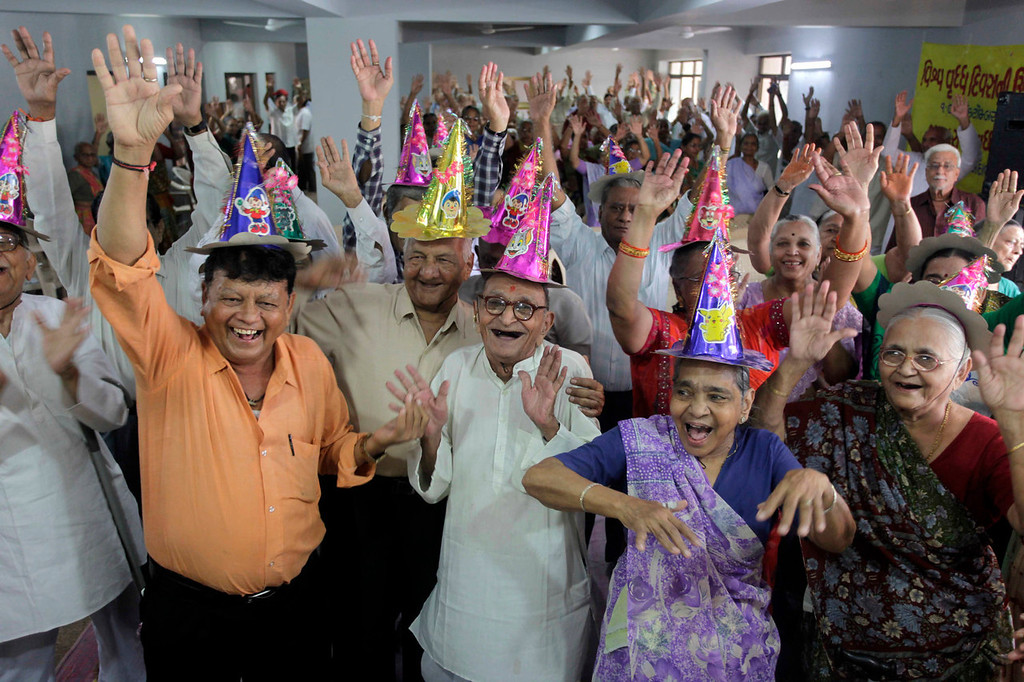 . Elderly Indians participate in celebrations to mark International Day of Older Persons at an old age home in Ahmadabad, India, Tuesday, Oct. 1, 2013. Much of the world is not prepared to support the ballooning population of elderly people, including many of the fastest-aging countries, according to a global study scheduled to be released Tuesday, Oct. 1, by the United Nations and an elder rights group. (AP Photo/Ajit Solanki)