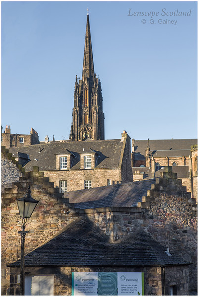 The Hub spire (former Highland Tolbooth Church) from Greyfriars