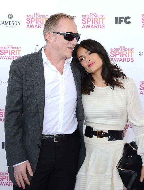 . SANTA MONICA, CA - FEBRUARY 23:  Actress Salma Hayek (R) and Francois-Henri Pinault attend the 2013 Film Independent Spirit Awards at Santa Monica Beach on February 23, 2013 in Santa Monica, California. (Photo by Jason Merritt/Getty Images)