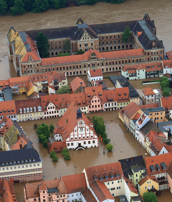 . An aerial view shows the flooded city centre of Grimma, eastern Germany, on June 3, 2013. Parts of the eastern and southern Germany were flooded due to heavy and ongoing rainfall.  JENS WOLF/AFP/Getty Images