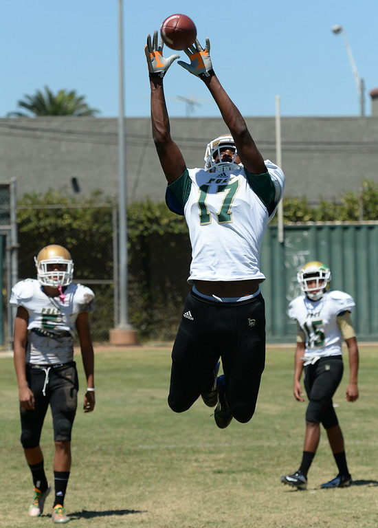 . Receiver Taariq Johnson leaps for a pass during drills at Long Beach Poly football practice Saturday, August 16, 2014, Long Beach, CA.   Photo by Steve McCrank/Daily Breeze