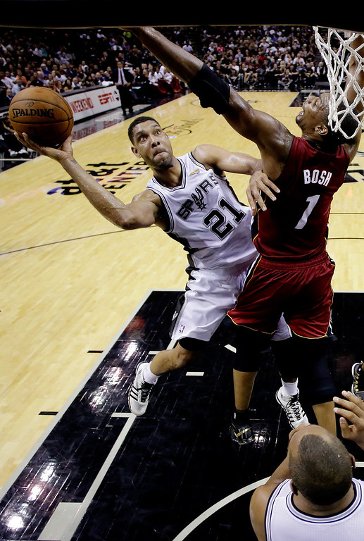 . Tim Duncan #21 of the San Antonio Spurs goes to the basket against Chris Bosh #1 of the Miami Heat during Game One of the 2014 NBA Finals at the AT&T Center on June 5, 2014 in San Antonio, Texas.  (Photo by Pool/Getty Images)