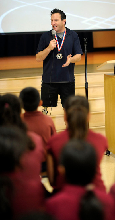 . Paralympian John Siciliano speaks to students at Korenstein Elementary School as part of  Ready, Set, Gold, a public-private partnership with the Southern California Committee for the Olympic Games that is designed to motivate children to set and reach their goals, primarily in health and fitness to help combat childhood obesity and diabetes. (Hans Gutknecht/Staff Photographer)