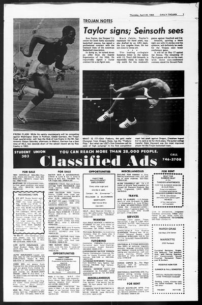 Daily Trojan, Vol. 60, No. 109, April 24, 1969