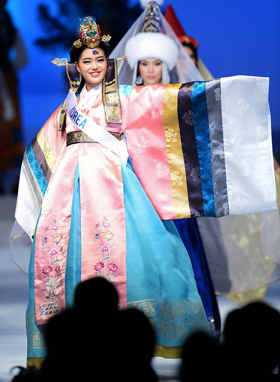 . Wearing a national costume, Han Ji-Eun of South Korea appears on stage during the 53rd Miss International Beauty Pageant in Tokyo on December 17, 2013.      TORU YAMANAKA/AFP/Getty Images