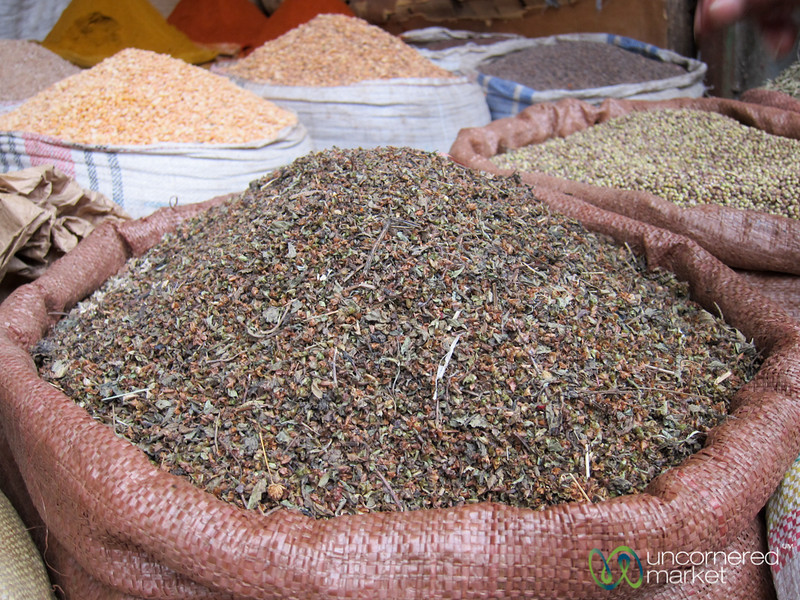 Piles of Herbs and Spices at the Addis Ababa Merkato - Ethiopia