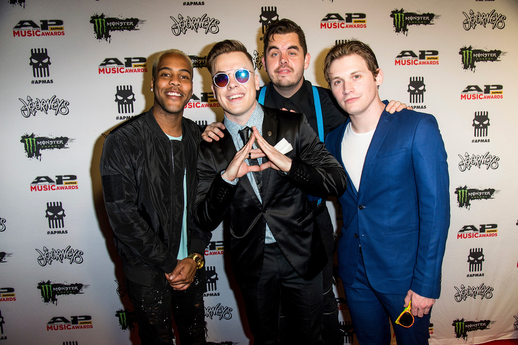 . Dan Clermont, from left, Cody Carson, Zach DeWall and Maxx Danziger of Set It Off seen at 2017 Alternative Press Music Awards at the KeyBank State Theatre on Monday, July 17, 2017, in Cleveland. (Photo by Amy Harris/Invision/AP)