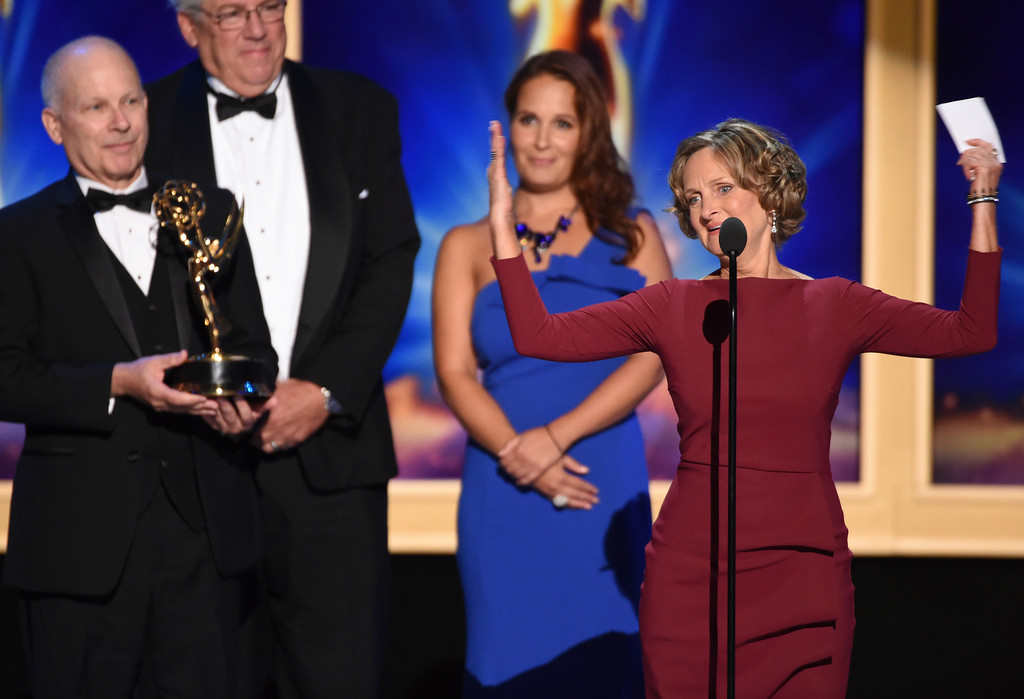 ". The team from ""Jesus Christ Superstar Live in Concert\"" accepts the award for outstanding technical direction, camerawork, video control for a limited series, movie or special during night two of the Television Academy\'s 2018 Creative Arts Emmy Awards at the Microsoft Theater on Sunday, Sept. 9, 2018, in Los Angeles. (Photo by Phil McCarten/Invision/AP)"
