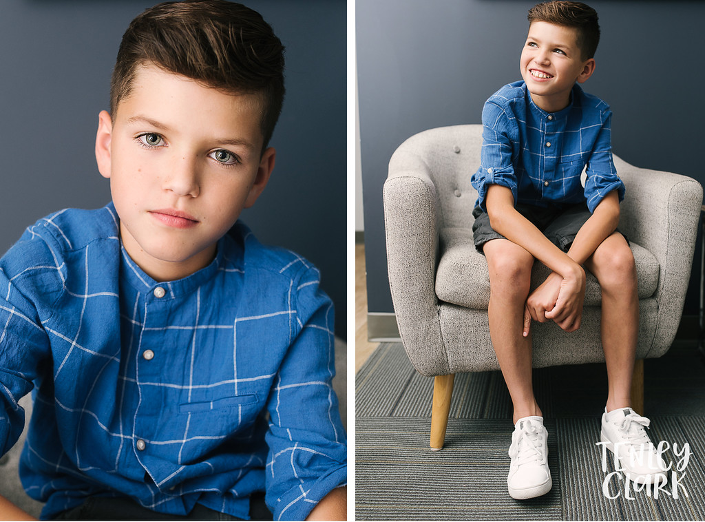 Los Gatos boys kids headshots for JE Model by Tenley Clark Photography