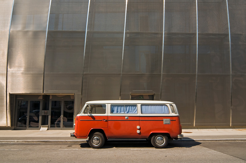 Classic VW T2 outside MUMUTH Building, Graz