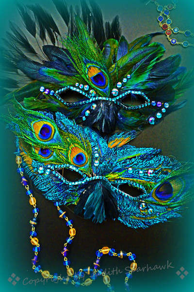 Mardi Gras! ~ In honor of the upcoming days (and nights) of Mardi Gras, I composed two still life photos.  First I had to make the masks, then gather up the beads, decide how to arrange them...the masks turned out sparkly and lovely.  Enjoy...