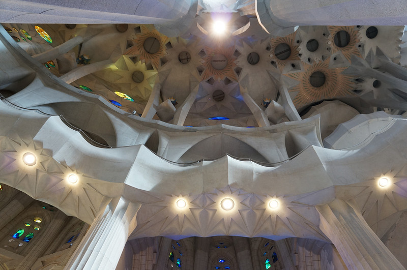 Antonio Gaudi created columns inside La Sagrada Família to resemble trees, so that when you looked up you could get the sense of being in a forest.
