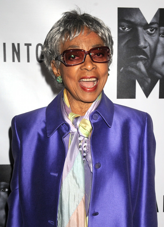 ". In this Oct. 13, 2011 file photo, actress Ruby Dee attends the Broadway premiere of "" The Mountaintop,\"" in New York. Dee, an acclaimed actor and civil rights activist whose versatile career spanned stage, radio television and film, died at age 91 on Wednesday, June 11, 2014,  http://bit.ly/1tSbDXb   (AP Photo/ Louis Lanzano, file)"