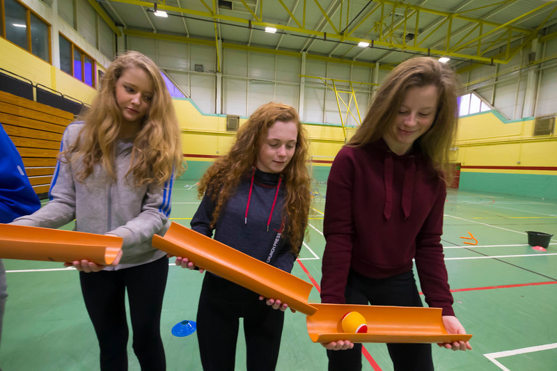 22/11/2017. Waterford Institute of Technology's (WIT) 'College Awareness Day. Pictured during the Drain Pipe Challenge are Aoife Casey Katie Houlihan, Erin Moloney from Mercy secondary School, Waterford. Picture: Patrick Browne  Hundreds of secondary school students from across the South East celebrated College Awareness Week by attending Waterford Institute of Technology's (WIT) 'College Awareness Day' on Wednesday 22 November 2017. The events gave secondary school students a taste of college life and helped students of all ages to become 'college ready' by raising awareness of the benefits of going to college. There was an  hourly talk/workshop on how to become college ready (including presentations on college life), an expo area, and a chance to explore the campus. Students attended workshops on sport, electronics, sport and creative as well as presentations on college life at WIT, student supports, new courses for 2018, routes of entry and clubs and societies. They also got an overview of WIT's new common and broad entry courses for 2018.     Elaine Larkin Communications & PR Executive, Waterford Institute of Technology   Phone: +353 51 845577  Mobile: 087-7105148
