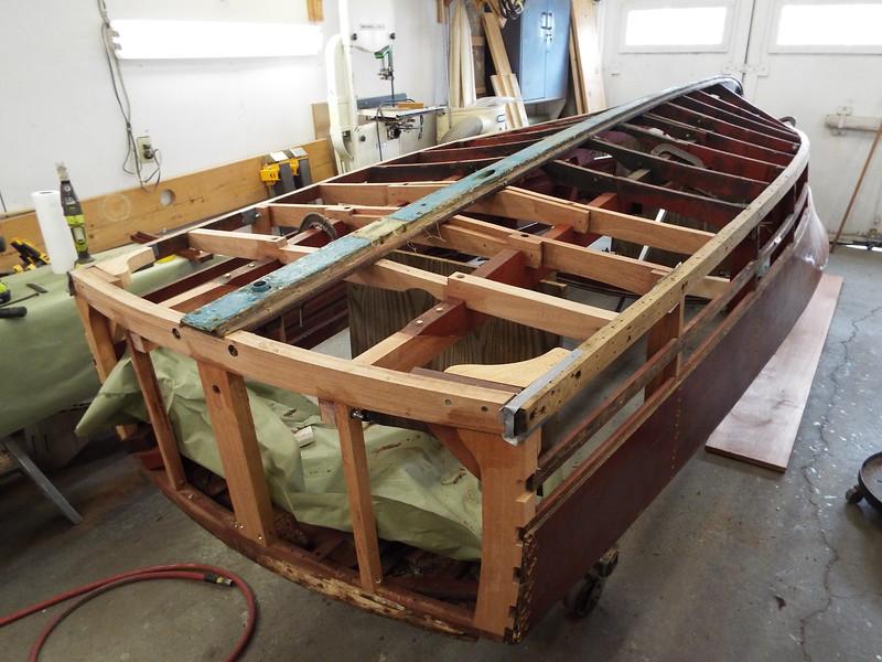 Four new bottom frames, transom framing, and new side frames installed.