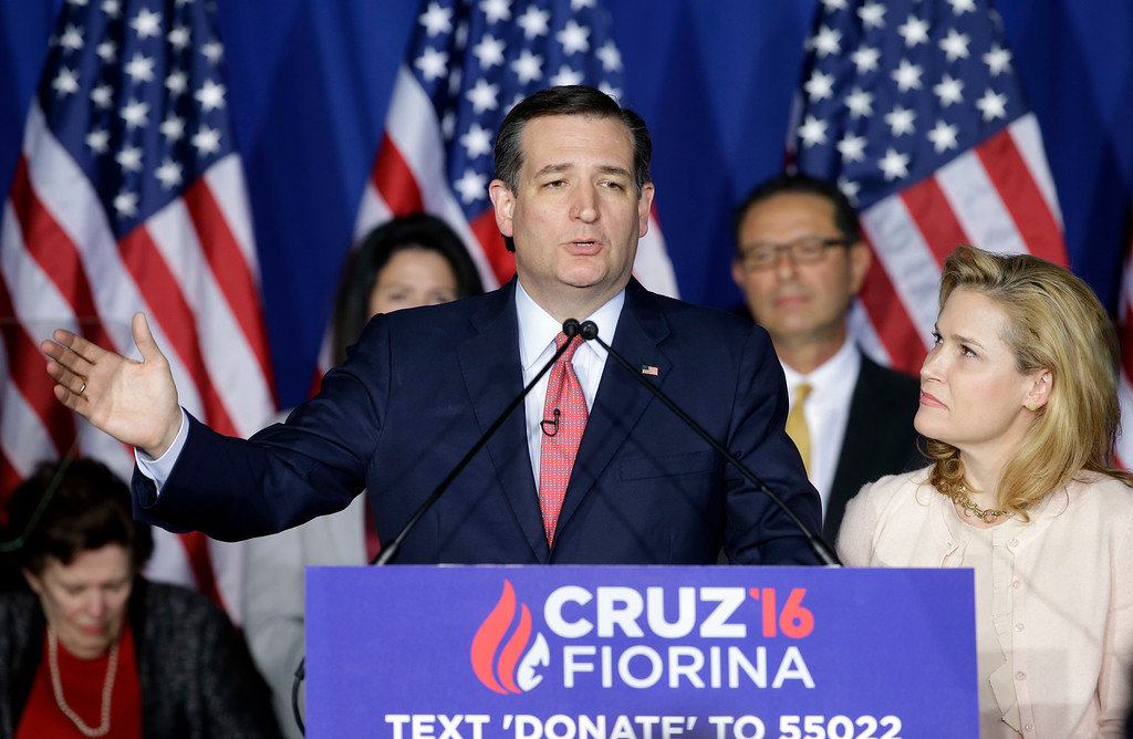 . Republican presidential candidate, Sen. Ted Cruz, R-Texas, speaks as his wife, Heidi, listens during a primary night campaign event, Tuesday, May 3, 2016, in Indianapolis. (AP Photo/Darron Cummings)