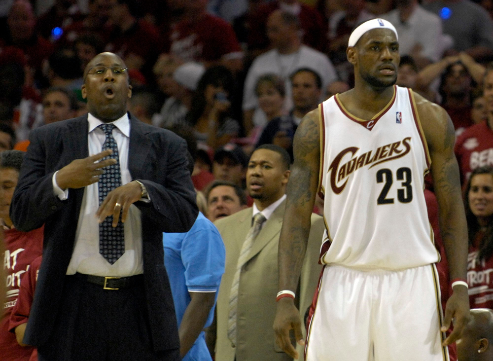. Coahc Mike Browns and Cavs forward Lebron James react after a foul was called on James in the third quarter in Game 3 of the Eastern Conference Championships against the Pistons.