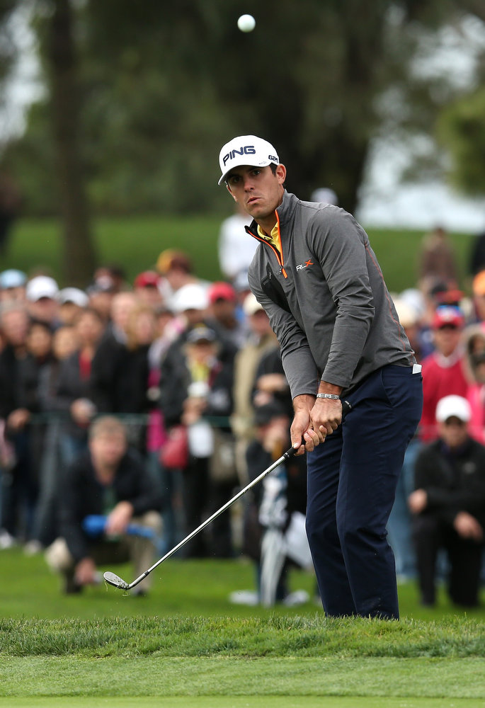 Description of . Billy Horschel hits onto the green on the sixth hole during the third round of the Farmers Insurance Open on the South Course at Torrey Pines Golf Course on January 27, 2013 in La Jolla, California.  (Photo by Stephen Dunn/Getty Images)