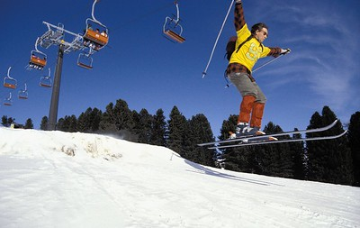 Skiing in Val Gardena, February 1992.