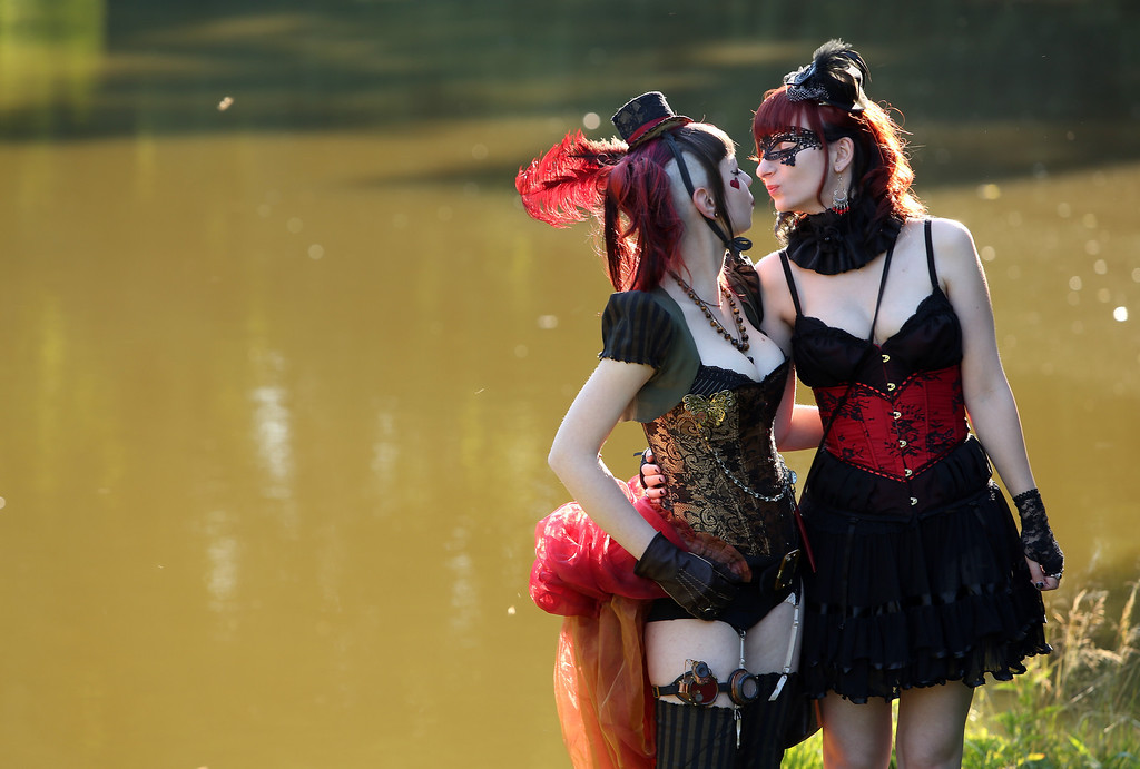. Gothic enthusiasts pose during the annual Wave-Gotik-Treffen music festival on June 6, 2014 in Leipzig, Germany.  (Photo by Adam Berry/Getty Images)