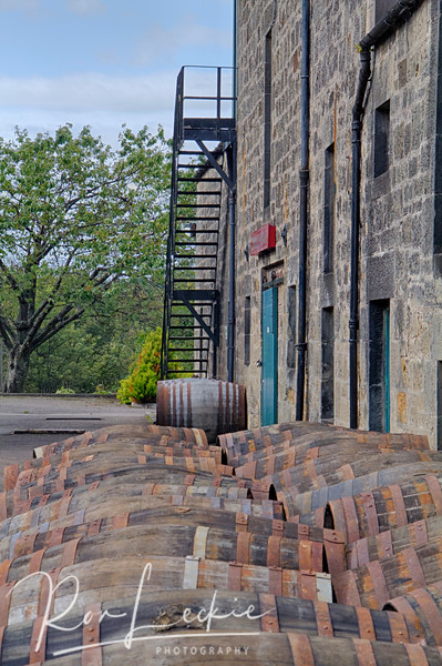 Benriach:  Barrels lined up outside.