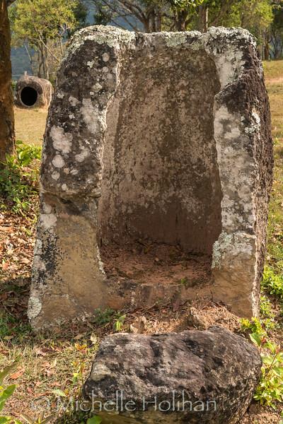 Broken stone jar at the Plain of Jars Site 3 in Phonsavan, Laos
