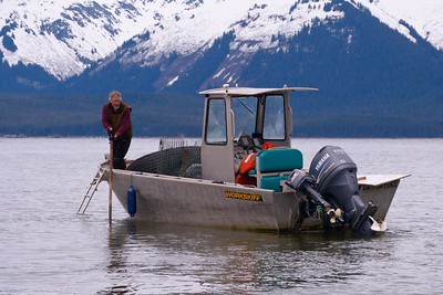 Keeping The Boat Afloat During An Outgoing Tide April 2013, Cynthia Meyer, Chichagof Island, Alaska