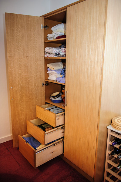 MDF Oak veneered storage units with full extention birch drawers.