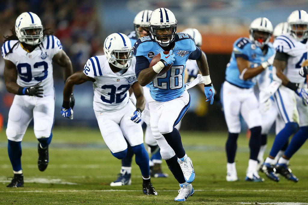 . NASHVILLE, TN - NOVEMBER 14:  Chris Johnson #28 of the Tennessee Titans carries the ball for a first quarter touchdown against the Indianapolis Colts at LP Field on November 14, 2013 in Nashville, Tennessee.  (Photo by Andy Lyons/Getty Images)