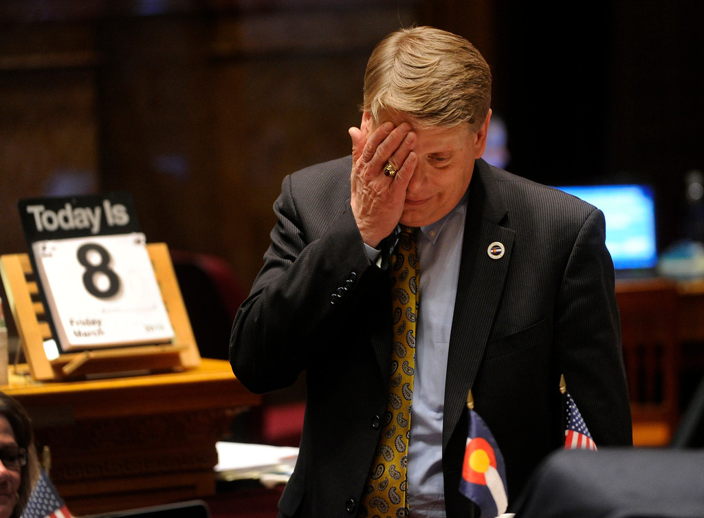 . DENVER, CO. - MARCH 8: Senator Mark Scheffel (R-Parker) reacted as debate continued on House Bill 1224 Friday night. The legislation would limit ammunition magazines to 15 rounds. The Colorado Senate continued to debate various gun control measures Friday night, March 8, 2013. (Photo By Karl Gehring/The Denver Post)