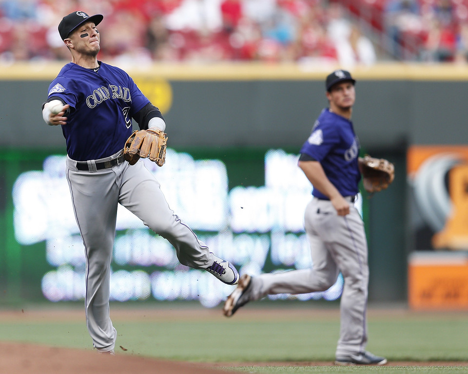 . Troy Tulowitzki #2 of the Colorado Rockies makes a play against the Cincinnati Reds during the game at Great American Ball Park on June 3, 2013 in Cincinnati, Ohio. (Photo by Joe Robbins/Getty Images)