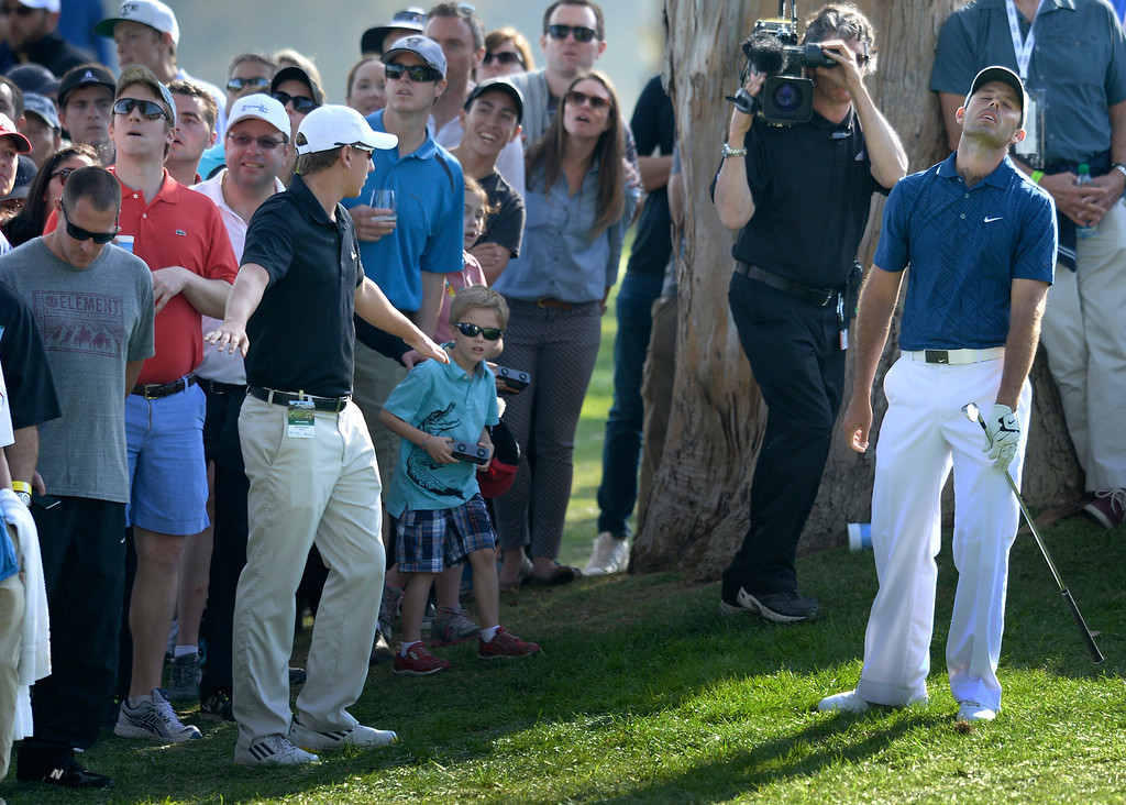 . Charl Schwartzel was not happy with his approach shot out of the trees on 18, and would struggle to make par. Bubba Watson won the 2014 Northern Trust Open. Pacific Palisades, CA. February 13, 2014 (Photo by John McCoy / Los Angeles Daily News)