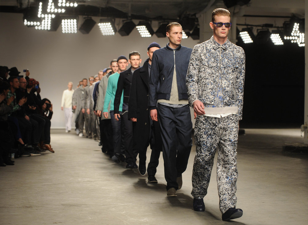 . Models walk the catwalk during the Richard Nicoll show at the London Collections: MEN AW13 at The Old Sorting Office on January 7, 2013 in London, England. (Photo by Stuart Wilson/Getty Images)
