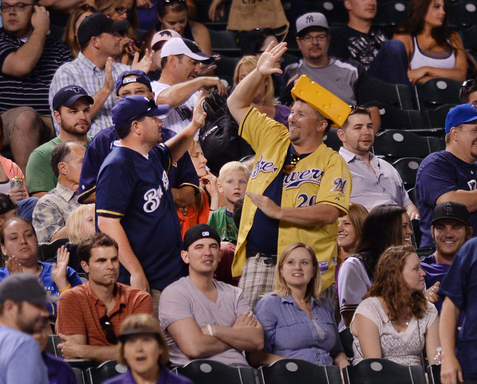 . DENVER, CO - JUNE 20: Milwaukee fans had plenty to cheer. The Milwaukee Brewers defeated the Colorado Rockies 13-10 at Coors Field Friday night, June 20, 2014. Photo by Karl Gehring/The Denver Post