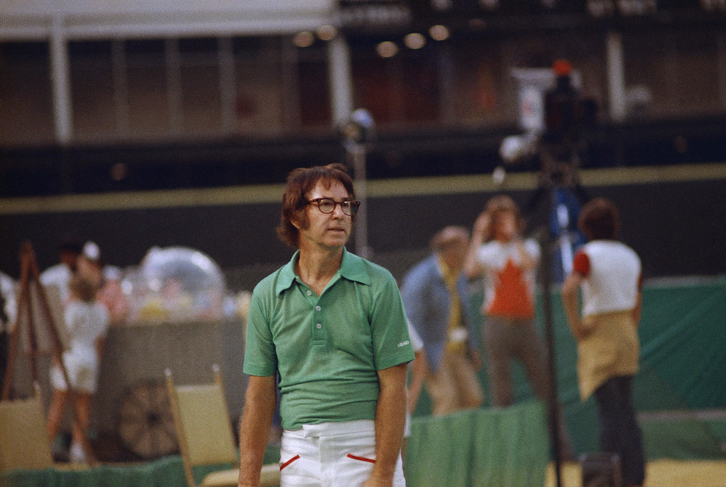. Bobby Riggs, the 55-year-old veteran, in the �Battle of the Sexes� tennis match with Billie Jean King at the Houston Astrodome in Houston, Texas on Sept. 20, 1973. (AP Photo)