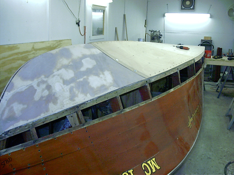 Front starboard view of second layer being fit.
