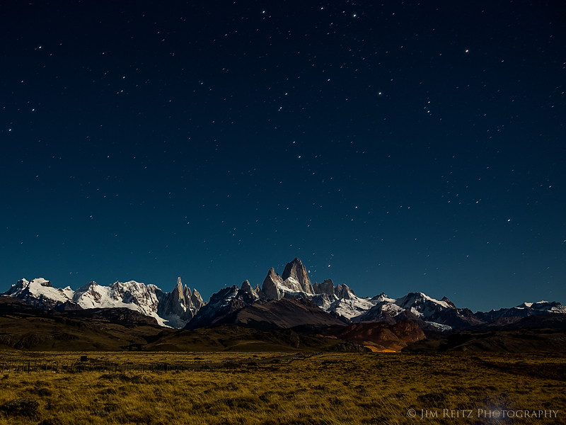 Stars at night over Mount Fitz Roy, near El Chalten, Argentina