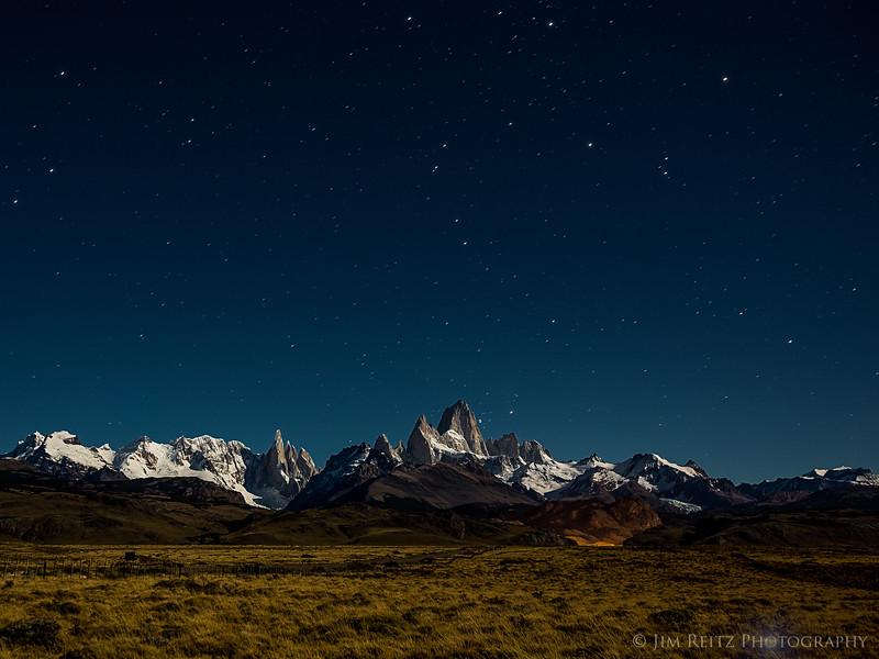 Stars at night over Mount Fitz Roy, near El Chalten, Argentina