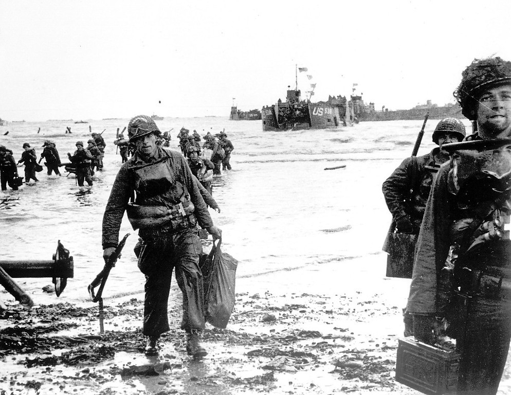 . Carrying full equipment, American assault troops move onto a beachhead code-named Omaha Beach, on the northern coast of France, in this June 6, 1944 file photo, during the Allied invasion of the Normandy coast. (AP Photo)