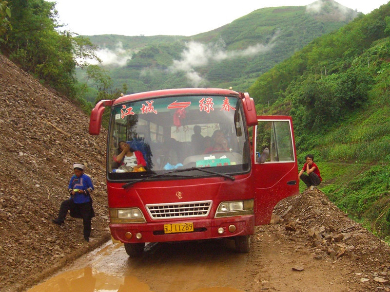 Broken Down Bus - Yunnan, China