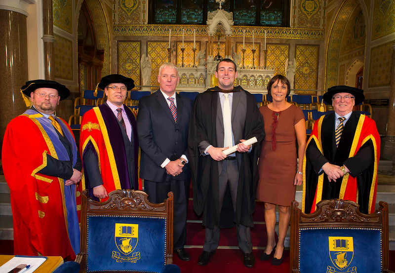 Waterford Institute Of Technology Conferring. Pictured at WIT Waterford Institute Of Technology Conferring is Stephen O'Rourke, Student President from Waterford  who graduated Bachelor of Arts (Honours) in Accounting, Also pictured from left, Dr. Derek O'Byrne. Registrar,WIT, Dr. Ruaidhrí Neavyn, President, WIT, Brendan and Monica O'Rourke, Dr Donnie Ormonde Chairman WIT. Picture: Patrick Browne