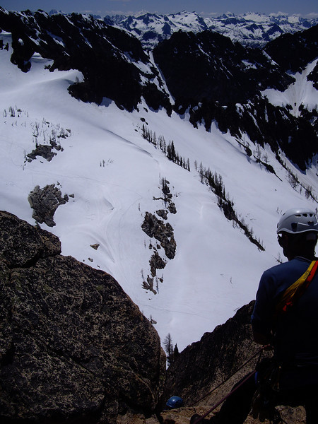 Waiting to for another party to top out on the first pitch on our way down.